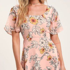 Lulu's Priscilla Blush Pink Floral Print Dress